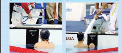 パラ水泳のスタート時に使用する補助具